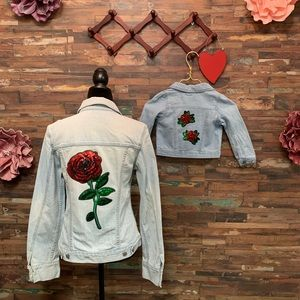NWT | Rose Sequin Bling Jean Jacket | L